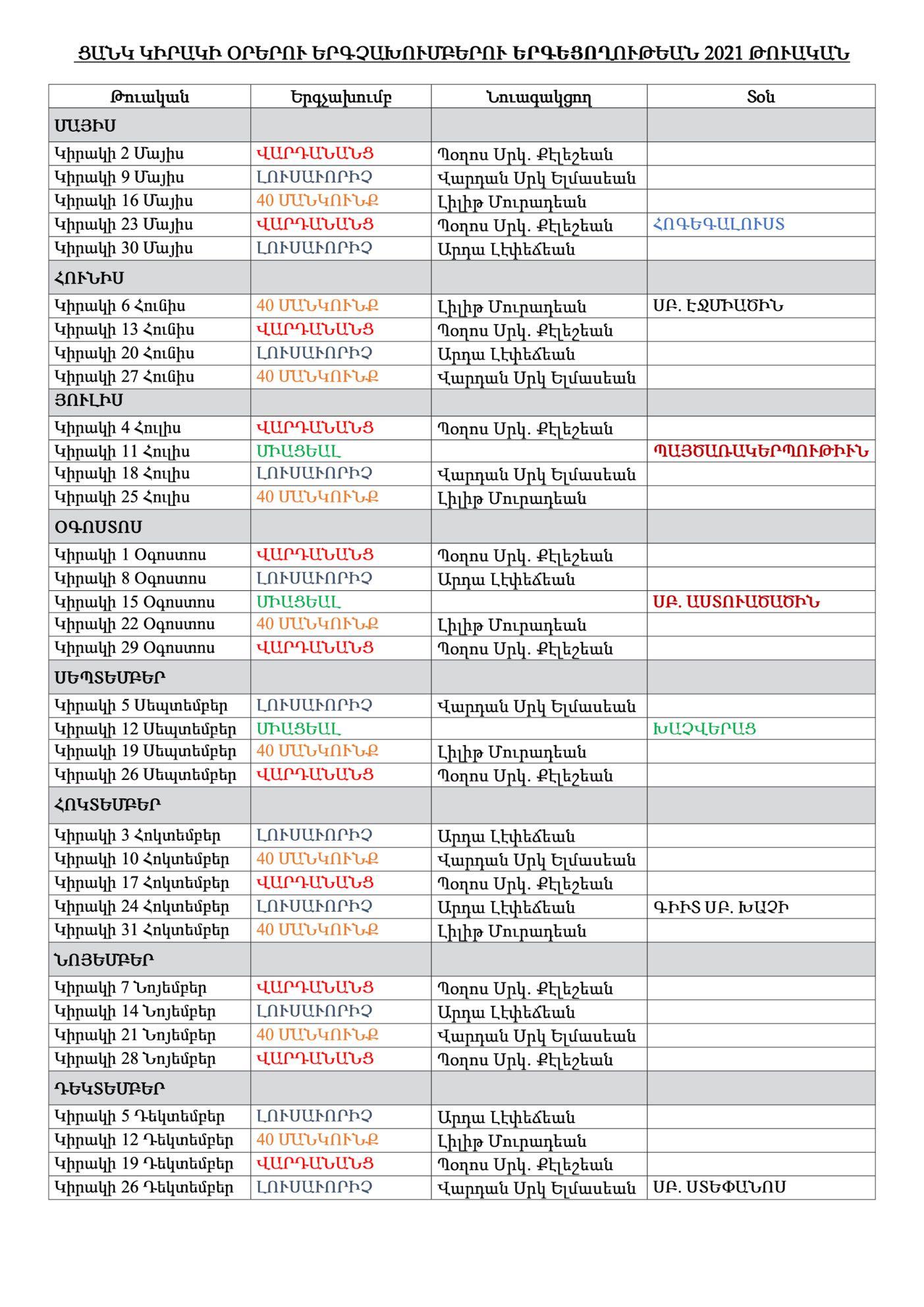 Church Choir Timetable 2021